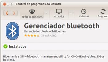 Instalando o blueman pela Central de programas do Ubuntu
